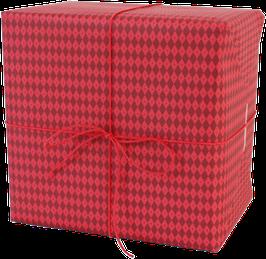 Geschenkpapier Rauten, rot (3 Bogen)