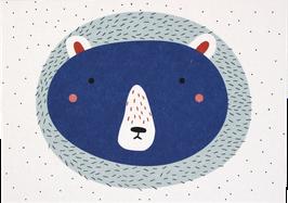 Postkarte Bär blau (ohne Text)