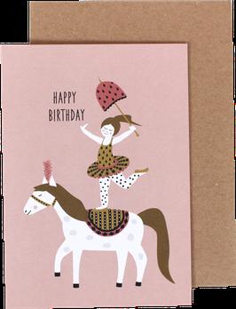 """Klappkarte """"Zirkusmädchen auf dem Pferd"""" - Happy Birthday"""
