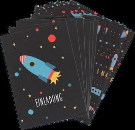 Einladungskarten-Set Rakete (6 Karten)