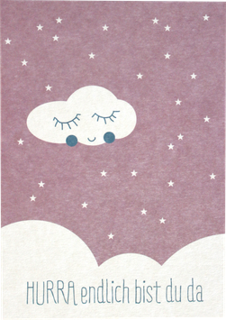 "Postkarte ""HURRA - endlich bist Du da"", rosa"