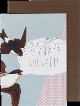 """Klappkarte """"Zur Hochzeit"""" Schwalben"""