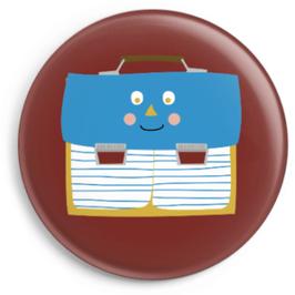 Button Schulranzen mit Gesicht, blau