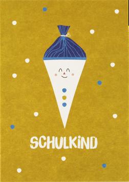 """Postkarte Schultüte, gelb - """"Schulkind"""""""