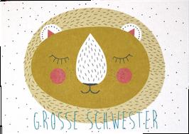 "Postkarte Löwe gelb ""grosse Schwester"""