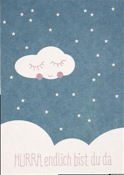 """Postkarte """"HURRA - endlich bist Du da"""", blau"""
