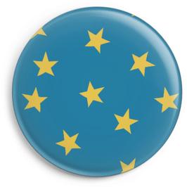 Magnet blau mit gelben Sternen (32 mm)