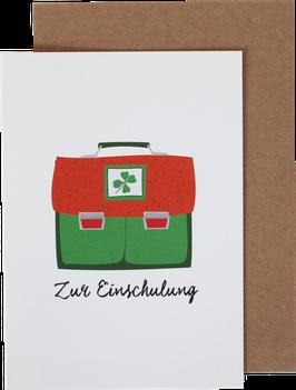"""Klappkarte Ranzen """"ZurEinschulung"""", orange-grün"""