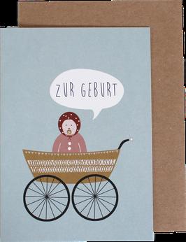 """Klappkarte """"Zur Geburt"""" Kinderwagen, Mädchen"""
