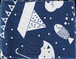 Hochwertiges Leinen-/Baumwolltuch, blau (70 x 100 cm)