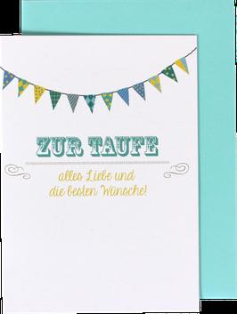 """Klappkarte Fähnchen - """"Zur Taufe"""""""