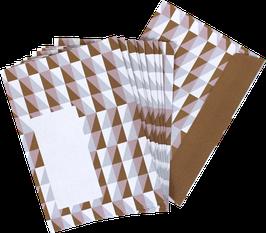 Briefumschläge Squares, rosa/ocker (Set mit 10 Umschlägen)