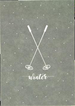 Postkarte Skistöcke, blaugrau - Winter