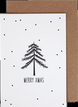 Klappkarte Mini-Tanne mit schwarzen Punkten, schwarz - Merry Xmas