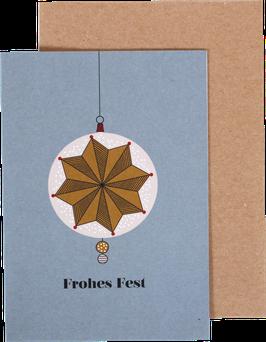 Klappkarte Kugel02, Frohes Fest