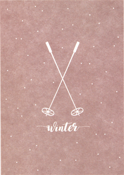 Postkarte Skistöcke, altrosa - Winter