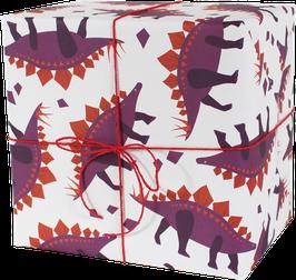 Geschenkpapierset Dinos, violett (3 Bogen)