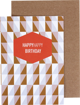 """Klappkarte """"Squares"""" rosa/ocker - HappyHappy Birthday"""