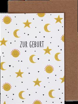 Klappkarte Mond und Sterne - Zur Geburt