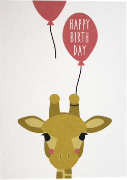 "Postkarte Giraffe mit Ballon ""Happy Birthday"""