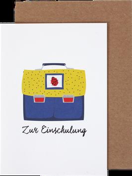 """Klappkarte Ranzen """"ZurEinschulung"""", blau-gelb"""
