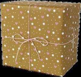 Geschenkpapier Herzchen - Sterne - Punkte, ocker (3 Bogen)