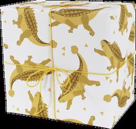Geschenkpapier Dinos, gelb (3 Bogen)