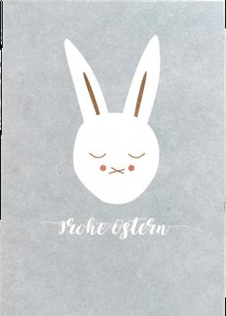 "Postkarte Hase, hellblau - ""Frohe Ostern"""