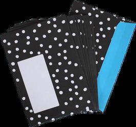 NEU! Set mit 10 Briefumschlägen schwarz mit weissen Punkten