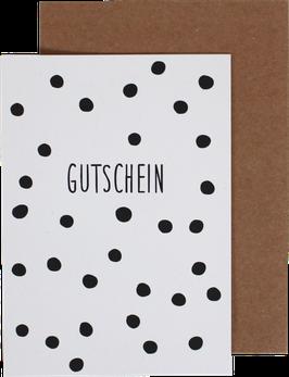 """Klappkarte """"Gutschein"""", Punkte schwarz"""
