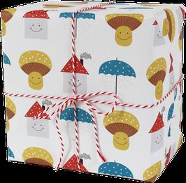 Geschenkpapier Schirm/Pilz/Haus (3 Bogen)