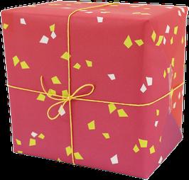 Geschenkpapier Konfetti, rot/lila (3 Bogen)