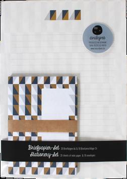 Briefpapier-Set Squares, braun/ocker