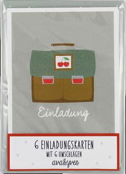 Einladungskarten-Set Schulranzen mit Kirsche (6 Karten)