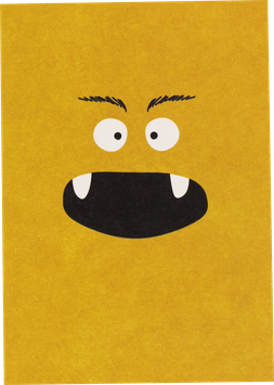 Postkarte Monster, gelb