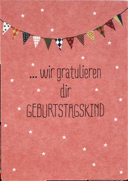"""Postkarte """"wir gratulieren Dir Geburtstagskind"""""""
