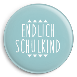 """Button """"Endlich Schulkind"""", blau"""
