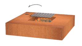 Vuurtafel vierkant met of zonder grill