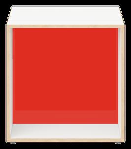 Cube weiss mit Acrylglas glanz transparent dunkelrot