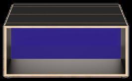 Clubtisch schwarz mit Acrylglas glanz transparent dunkelblau