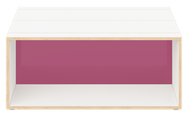 Clubtisch weiss mit Acrylglas satiniert plum