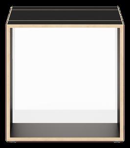 Cube schwarz mit Acrylglas glanz transparent weiss/opal