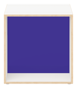 White Cube with glossy transparent acrylic glass dark blue
