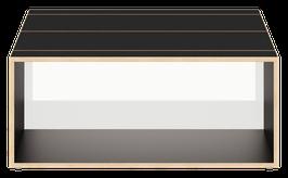 Clubtisch schwarz mit Acrylglas satiniert polar white