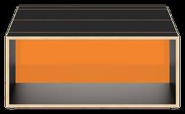Clubtisch schwarz mit Acrylglas glanz transparent amber
