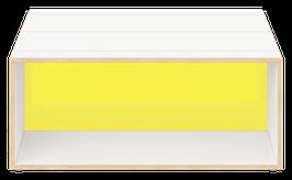 Clubtisch weiss mit Acrylglas satiniert citrus yellow