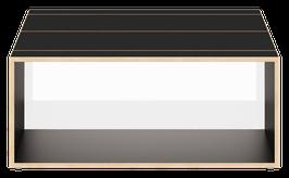 Clubtisch schwarz mit Acrylglas glanz transparent weiss/opal