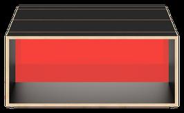 Clubtisch schwarz mit Acrylglas satiniert chili red