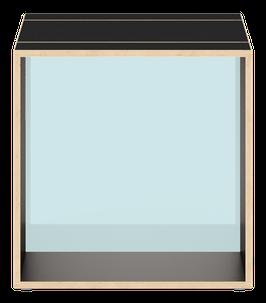 Cube schwarz mit Acrylglas satiniert arctic blue