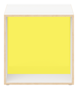 White Cube with glazed acrylic glass citrus yellow